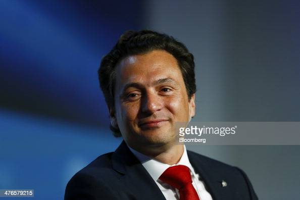 Emilio Lozoya Austin chief executive officer of Petroleos Mexicanos listens during the 2014 IHS CERAWeek conference in Houston Texas US on Monday...