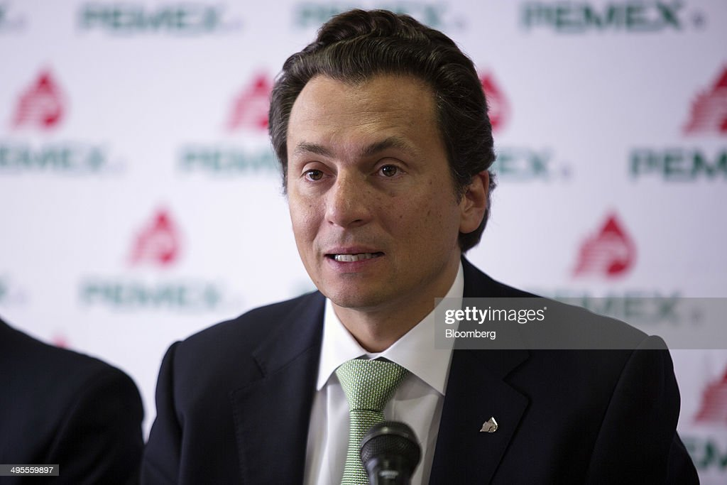 Emilio Lozoya chief executive officer of Petroleos Mexicanos speaks during a news conference at company headquarters in Mexico City Mexico on...