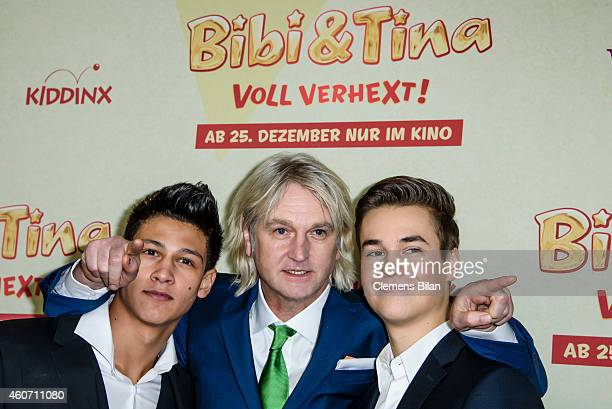 Emilio Moutaoukkil Detlev Buck and Louis Held attend the Berlin premiere of the film 'Bibi Tina Voll verhext' at Zoo Palast on December 20 2014 in...