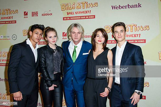 Emilio Moutaoukkil Lina Larissa Strahl Detlev Buck LisaMarie Koroll and Louis Held attend the Berlin premiere of the film 'Bibi Tina Voll verhext' at...
