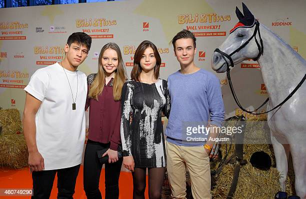 Emilio Moutaoukkil Lina Larissa Strahl LisaMarie Koroll and Louis Held attend the Hamburg premiere of the film 'Bibi Tina Voll verhext' at Cinemaxx...