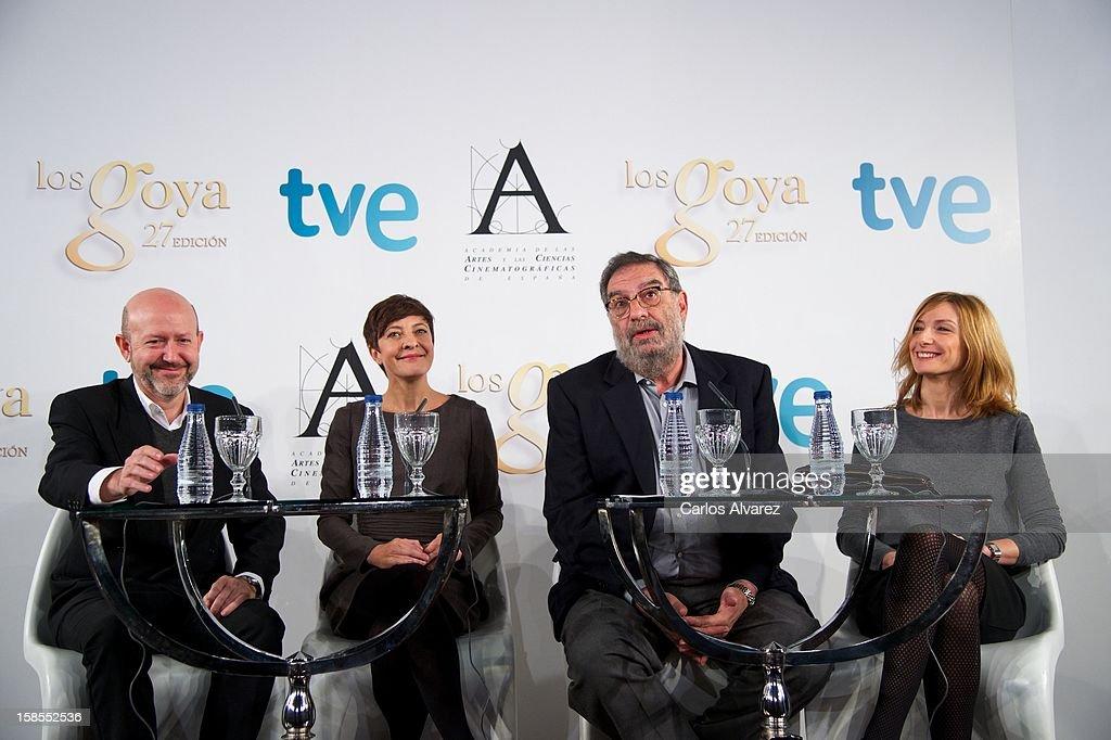 Emilio Pina, Eva Hache, President of Spanish Cinema Academy Enrique Gonzalez Macho and Eva Cebrian attend the 'Goya Film Awards 2013' press conference on December 19, 2012 in Madrid, Spain.