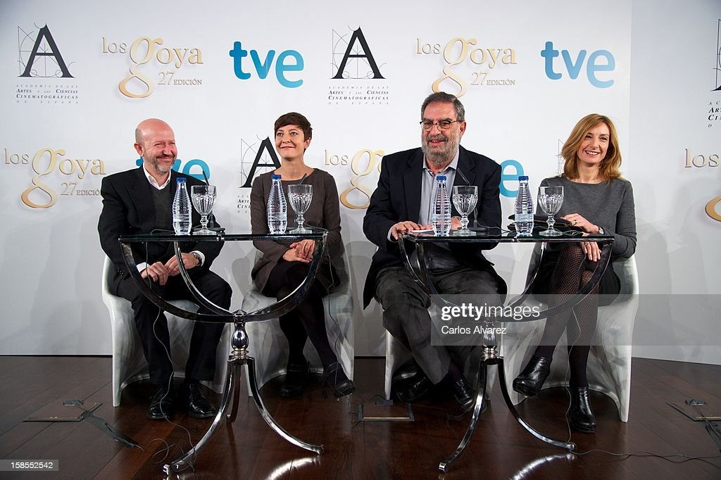 Emilio Pina, Eva Hache, President of Spanish Cinema Academy Enrique Gonzalez Macho and Eva Cebrian attend the 'Goya Film Awards 2013' press conference on December 19, 2012 in Madrid, Spain.