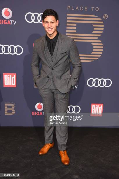 Emilio Sakraya Moutaoukkil wearing a suit by TOPMAN attends the PLACE TO B Party at Borchardt on February 11 2017 in Berlin Germany