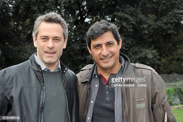 Emilio Solfrizzi and Massimo Poggio attend 'L'Amore Rubato Photocall' on November 23 2016 in Rome Italy