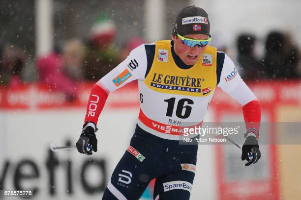 EmilIversen of Norwayduring the cross country sprint qualification during the FIS World Cup Ruka Nordic season opening at Ruka Stadium on November...