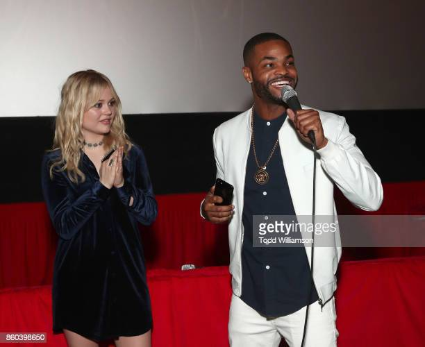 Emily Alyn Lind and King Bach attend the Los Angeles Premiere of 'The Babysitter' on October 11 2017 in Los Angeles California