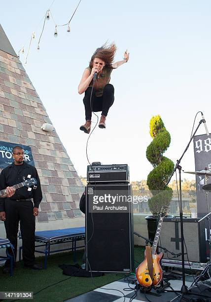 Emily Armstrong of the Rock Band Dead Sara performs at the 987fm Warped Tour encore party at The Historic Hollywood Tower on June 26 2012 in...
