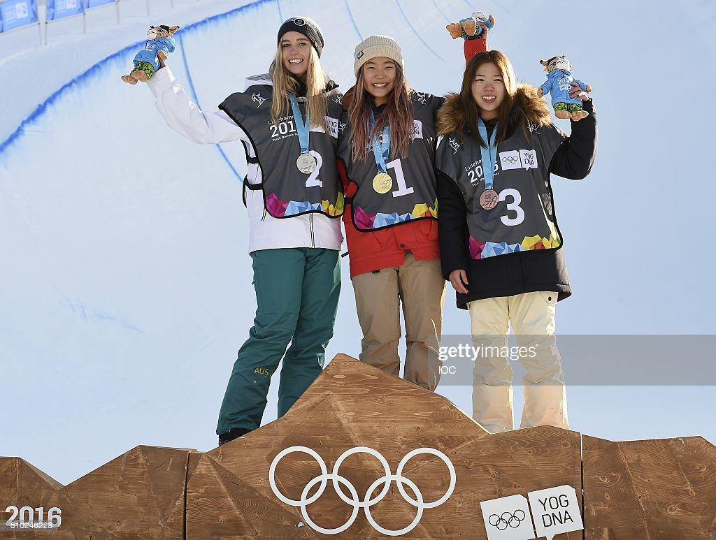 Emily Arthur AUS, Chloe Kim USA and Jeong Yu-rim KOR (left to right) pose on the medal podium with the medals they won in the Ladies' Snowboard Halfpipe Finals at Oslo Vinterpark Halfpipe during the Winter Youth Olympic Games on February 14, 2016 in Lillehammer, Norway.