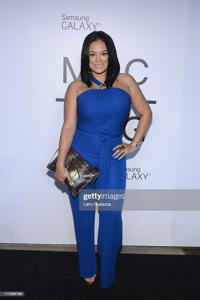Emily B attends JAY Z and Samsung Mobile's celebration of the Magna Carta Holy Grail album, available now through a customized app in Google Play and Samsung Apps exclusively for Samsung Galaxy S 4, Galaxy S III and Note II users on July 3, 2013 in Brooklyn City.
