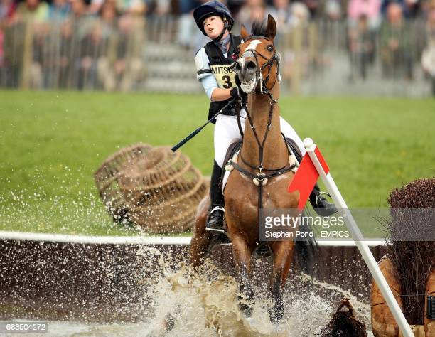Emily Baldwin riding Drivetime fails to jump out of the water during the cross country competition at the Badminton Horse Trials 2009