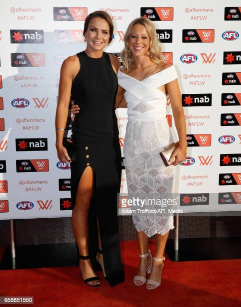Emily Bates and Kate McCarthy of the Lions arrive during the The W Awards at the Peninsula on March 28 2017 in Melbourne Australia