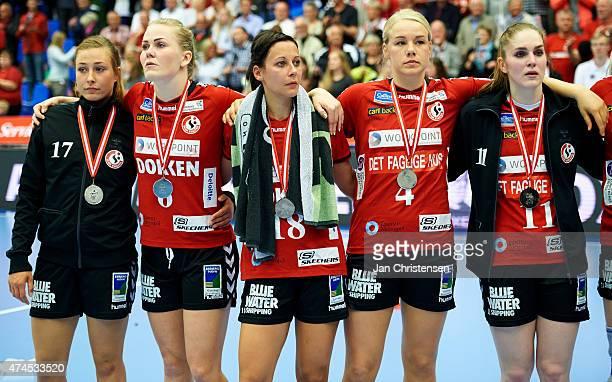 Emily Baunsgaard of Team Esbjerg Tove Seest of Team Esbjerg Susanne Kastrup Forslund of Team Esbjerg Susanne Astrup Madsen of Team Esbjerg and Laura...