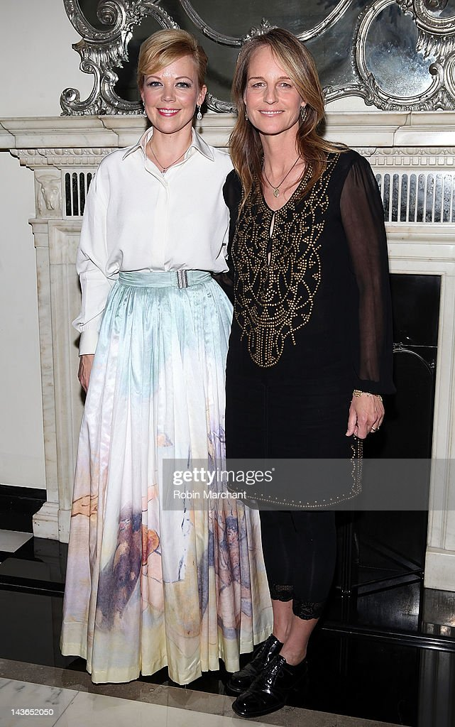 Emily Bergl and Helen Hunt attend the opening night of 'NY I Love You' at the Cafe Carlyle on May 1 2012 in New York City