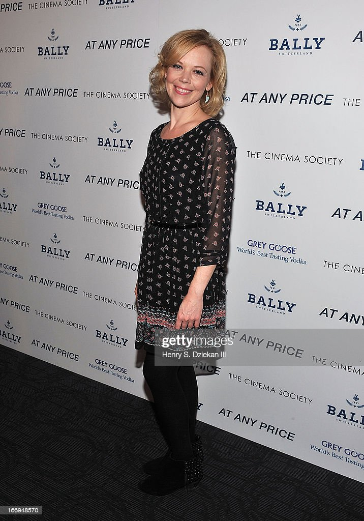 Emily Bergl attends the Cinema Society & Bally screening of Sony Pictures Classics' 'At Any Price' at Landmark's Sunshine Cinema on April 18, 2013 in New York City.
