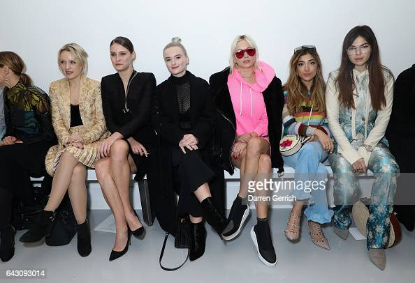 Emily Berrington Charlotte Wiggins Grace Chatto Caroline Vreeland a guest and Doina Ciobanu attend the Antonio Berardi show during the London Fashion...