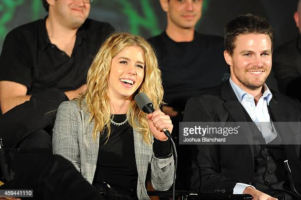 Emily Bett Rickards and Stephen Amell attend the special screening for the CW's 'Arrow' And 'The Flash' at Crest Theatre on November 22 2014 in...