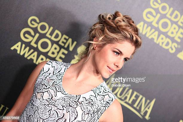 Emily Bett Rickards arrives for The Hollywood Foreign Press Association And InStyle Celebrate The 2015 Golden Globe Award Season Arrivals at Fig...