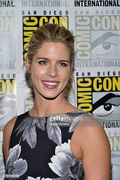 Emily Bett Rickards attends the Arrow press line at ComicCon International 2016 Day 3 on July 23 2016 in San Diego California