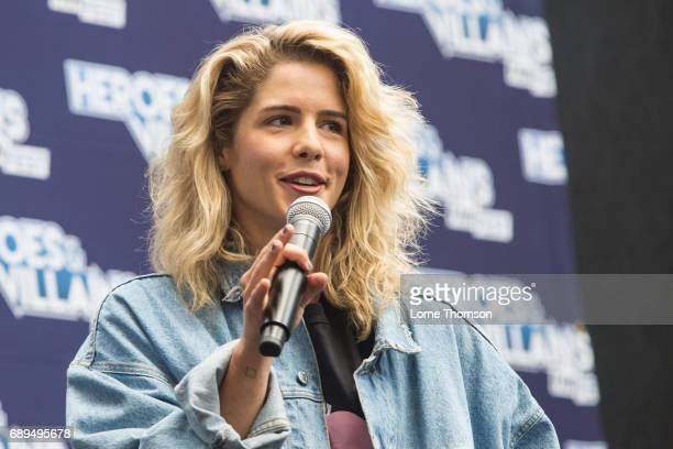 Emily Bett Rickards takes part in the Arrow Panel on day two of Heroes and Villians Convention at Olympia London on May 28 2017 in London England