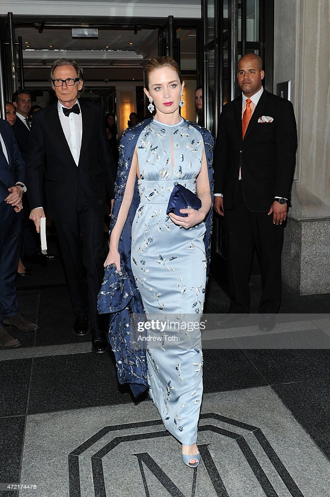 Emily Blunt  R  and Bill Nighy depart The Mark Hotel for the Met Gala. Met Gala 2015 Departures From The Mark Hotel   NYC Photos and