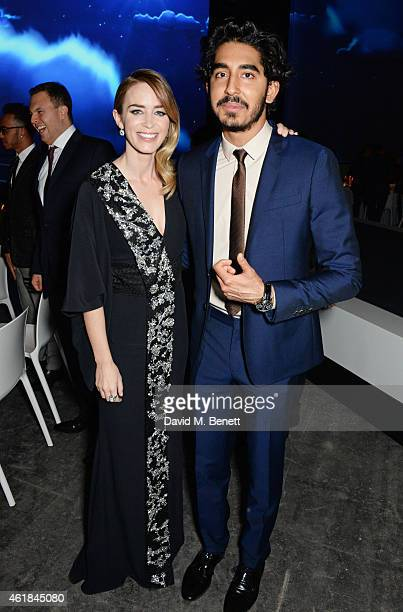 Emily Blunt and Dev Patel attend the IWC 'Journey To The Stars' Gala Dinner during the Salon International de la Haute Horlogerie 2015 on January 20...