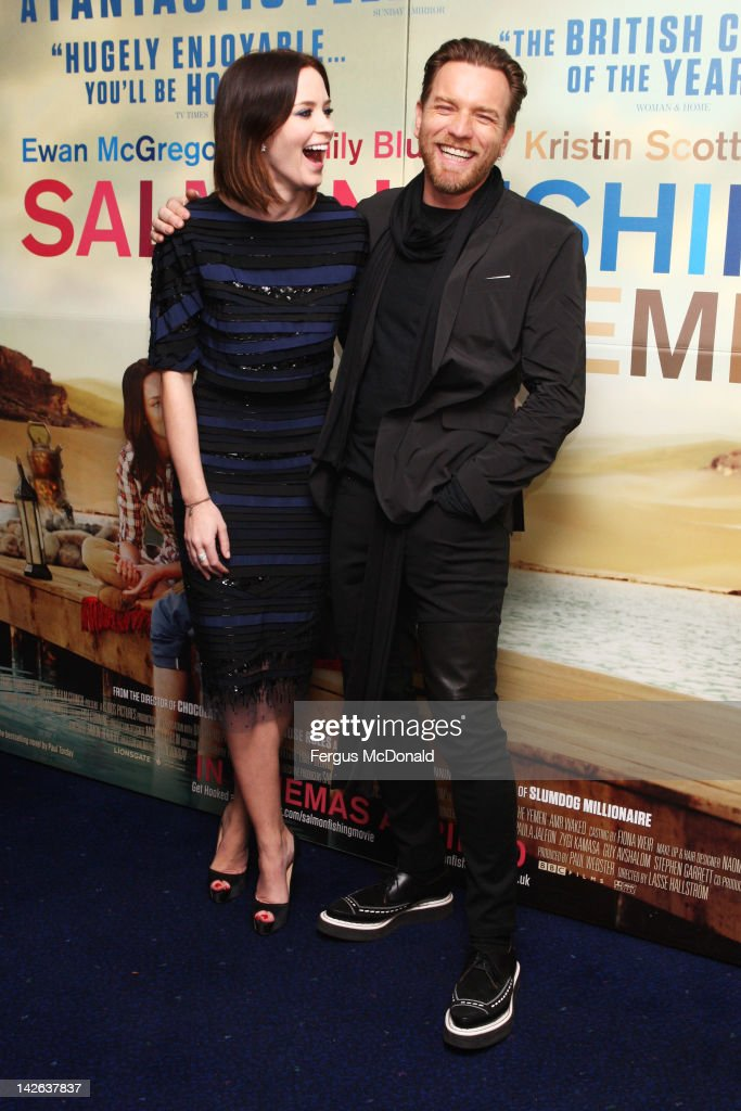 Emily Blunt and Ewan McGregor attend the European premiere of Salmon Fishing In The Yemen at The Odeon Kensington on April 10 2012 in London England