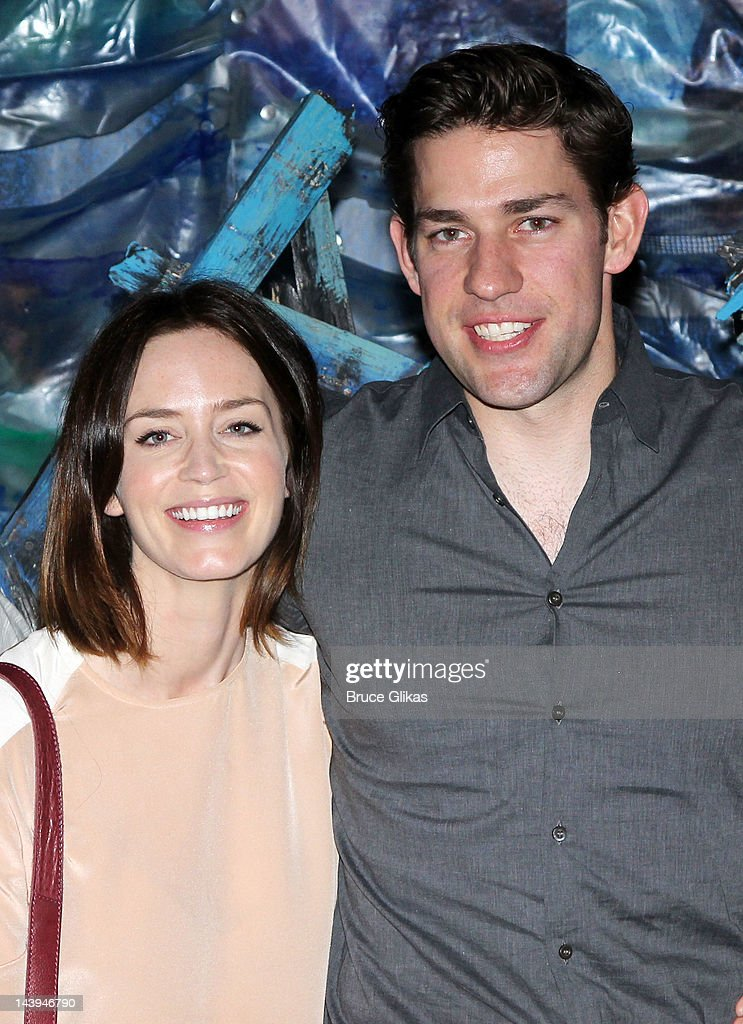 <a gi-track='captionPersonalityLinkClicked' href=/galleries/search?phrase=Emily+Blunt&family=editorial&specificpeople=213480 ng-click='$event.stopPropagation()'>Emily Blunt</a> and husband <a gi-track='captionPersonalityLinkClicked' href=/galleries/search?phrase=John+Krasinski&family=editorial&specificpeople=646194 ng-click='$event.stopPropagation()'>John Krasinski</a> pose backstage at the hit play 'Peter and The Starcatcher' on Broadway at The Brooks Atkinson Theater on May 5, 2012 in New York City.