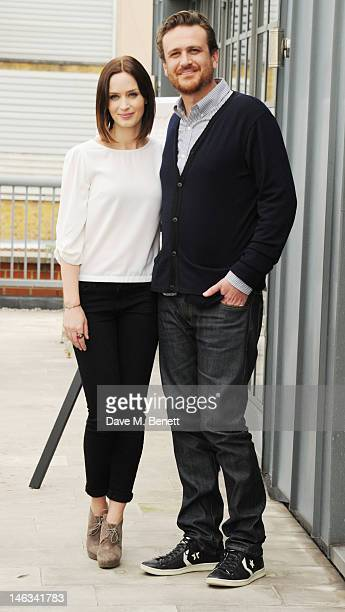 Emily Blunt and Jason Segel attend 'The Five Year Engagement' photocall at Soho Hotel on June 14 2012 in London England