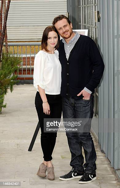 Emily Blunt and Jason Segel promote the film 'The FiveYear Engagement' at Soho Hotel on June 14 2012 in London England