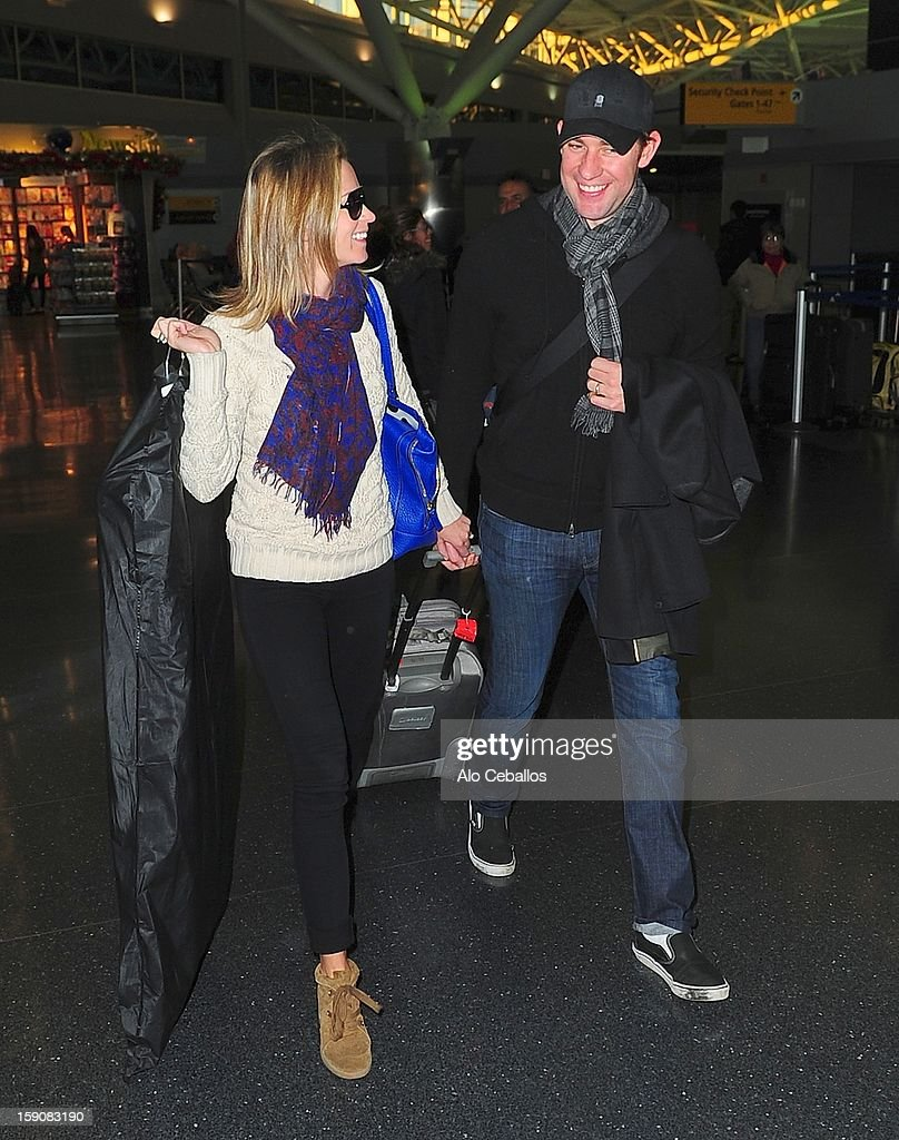 Emily Blunt and John Krasinski are seen at JFK Airport on January 7, 2013 in New York City.