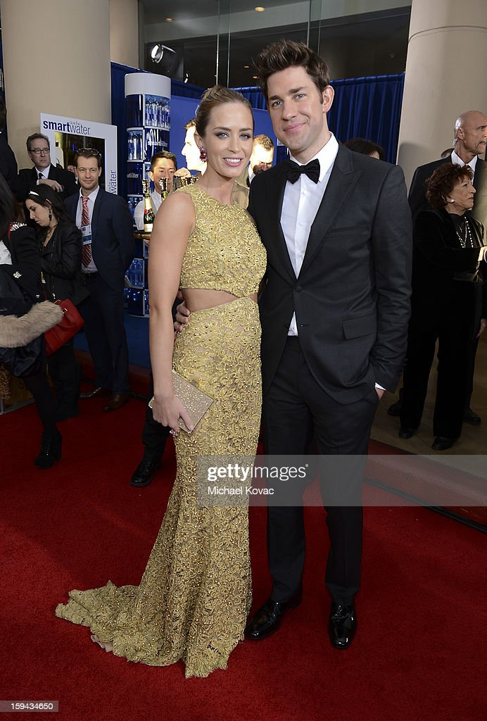 Emily Blunt and John Krasinski attend Moet & Chandon At The 70th Annual Golden Globe Awards Red Carpet at The Beverly Hilton Hotel on January 13, 2013 in Beverly Hills, California.