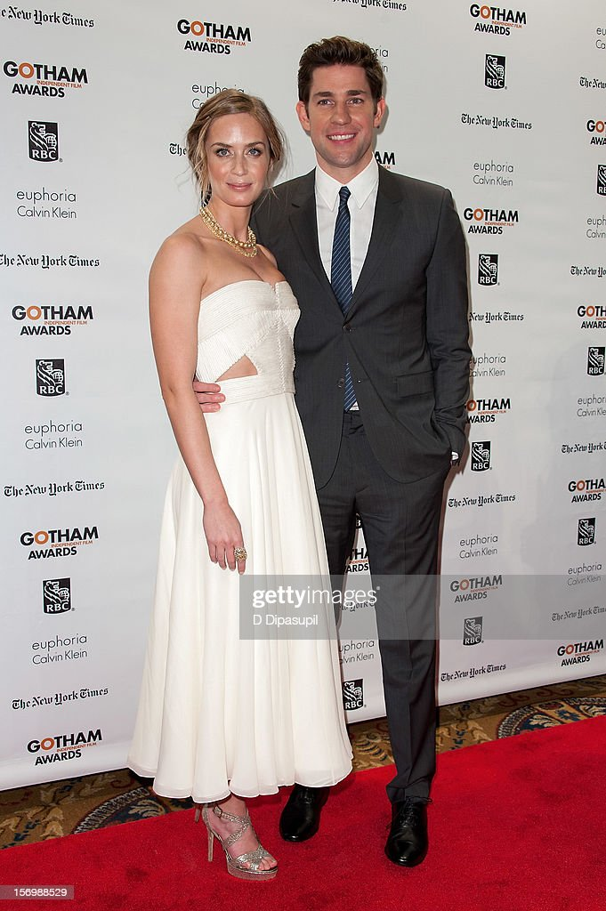 Emily Blunt (L) and John Krasinski attend the 22nd annual Gotham Independent Film awards at Cipriani, Wall Street on November 26, 2012 in New York City.
