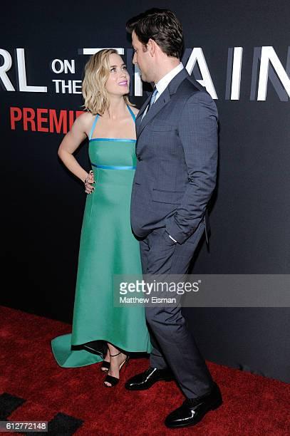 Emily Blunt and John Krasinski attend 'The Girl On The Train' New York Premiere at Regal EWalk Stadium 13 on October 4 2016 in New York City