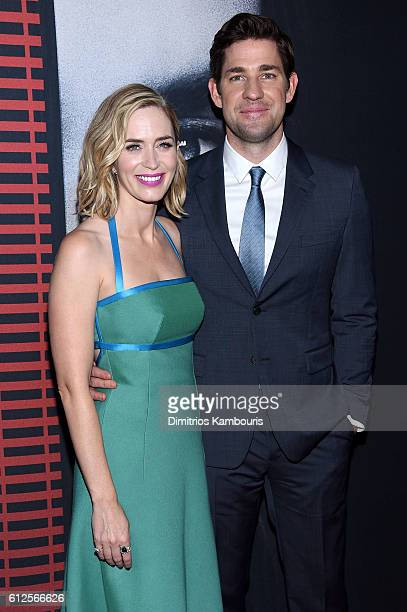 Emily Blunt and John Krasinski attend the 'The Girl On The Train' New York Premiere at Regal EWalk Stadium 13 on October 4 2016 in New York City
