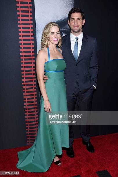 Emily Blunt and John Krasinski attend the 'The Girl On The Train' New York Premiere at Regal EWalk Stadium 13 on October 4 2016 in New York City