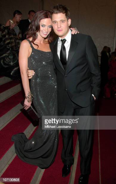 Emily Blunt and Michael Buble during 'Poiret King of Fashion' Costume Institute Gala at The Metropolitan Museum of Art Departures at The Metropolitan...