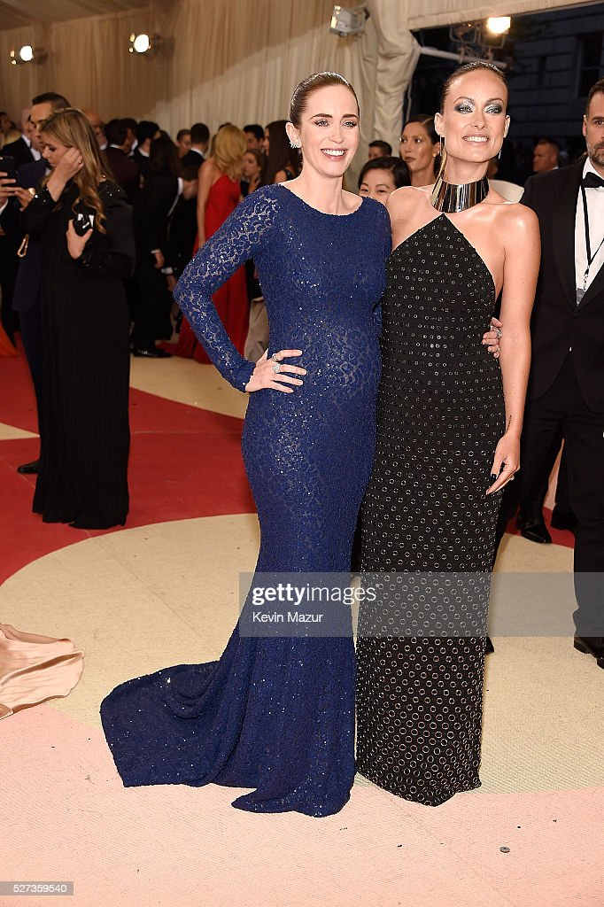Emily Blunt and Olivia Wilde attend 'Manus x Machina: Fashion In An Age Of Technology' Costume Institute Gala at Metropolitan Museum of Art on May 2, 2016 in New York City.