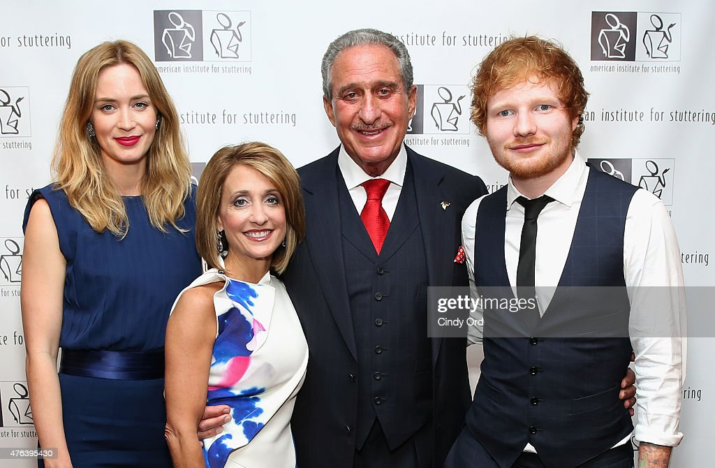 Emily Blunt, Angie Macuga, Arthur Blank and Ed Sheeran attend American Institute for Stuttering Freeing Voices Changing Lives 9th Annual Benefit Gala on June 8, 2015 in New York City.