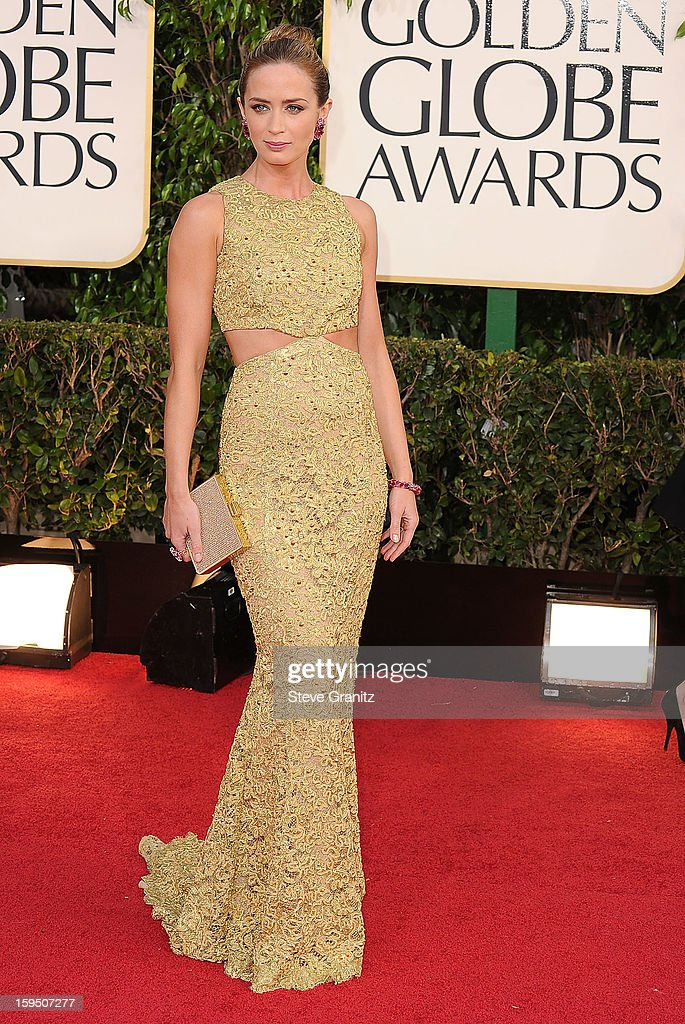 Emily Blunt arrives at the 70th Annual Golden Globe Awards at The Beverly Hilton Hotel on January 13 2013 in Beverly Hills California