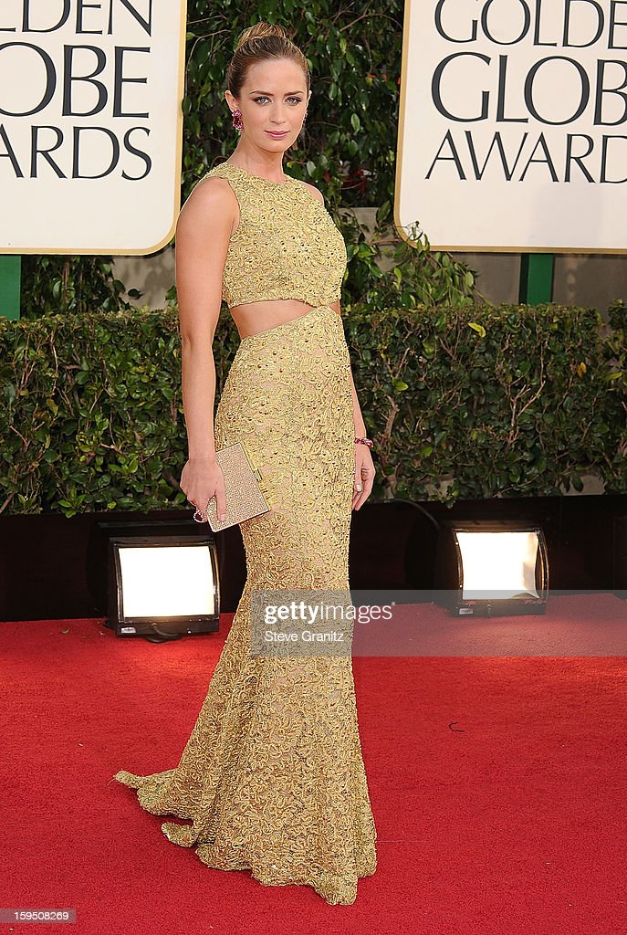 Emily Blunt arrives at the 70th Annual Golden Globe Awards at The Beverly Hilton Hotel on January 13, 2013 in Beverly Hills, California.