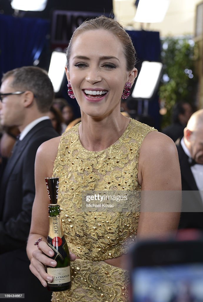 Emily Blunt attends Moet & Chandon At The 70th Annual Golden Globe Awards Red Carpet at The Beverly Hilton Hotel on January 13, 2013 in Beverly Hills, California.