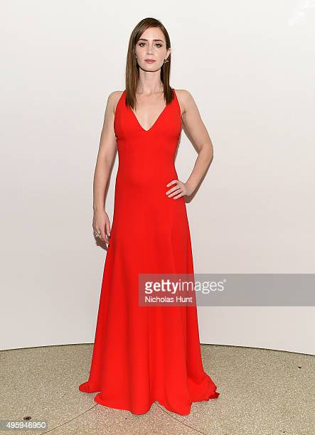 Emily Blunt attends the 2015 Guggenheim International Gala Dinner made possible by Dior at Solomon R Guggenheim Museum on November 5 2015 in New York...