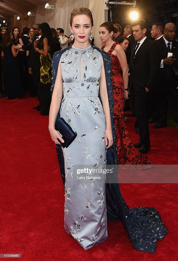 <a gi-track='captionPersonalityLinkClicked' href=/galleries/search?phrase=Emily+Blunt&family=editorial&specificpeople=213480 ng-click='$event.stopPropagation()'>Emily Blunt</a> attends the 'China: Through The Looking Glass' Costume Institute Benefit Gala at the Metropolitan Museum of Art on May 4, 2015 in New York City.