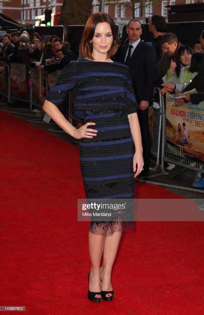 Emily Blunt attends the European premiere of Salmon Fishing in the Yemen at ODEON Kensington on April 10 2012 in London England