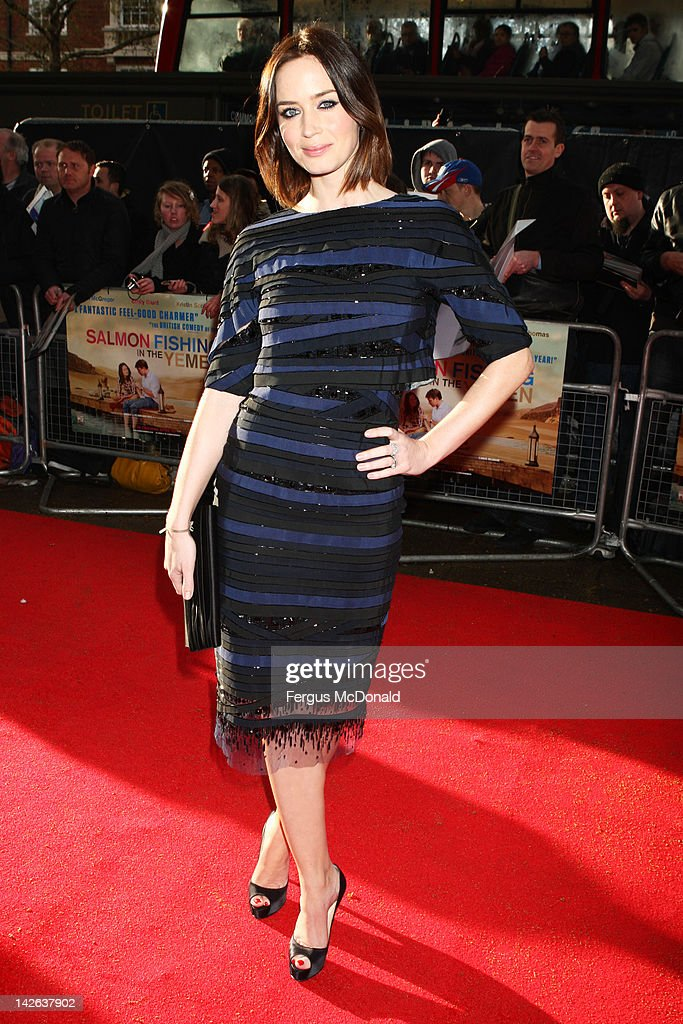 Emily Blunt attends the European premiere of Salmon Fishing In The Yemen at The Odeon Kensington on April 10 2012 in London England