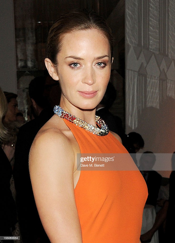 Emily Blunt attends the Harper's Bazaar Women of the Year Awards 2012, in association with Estee Lauder, Harrods and Tiffany & Co., at Claridge's Hotel on October 31, 2012 in London, England.