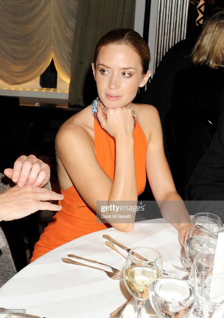 (MANDATORY CREDIT PHOTO BY DAVE M BENETT/GETTY IMAGES REQUIRED) Emily Blunt attends the Harper's Bazaar Women of the Year Awards 2012, in association with Estee Lauder, Harrods and Tiffany & Co., at Claridge's Hotel on October 31, 2012 in London, England.