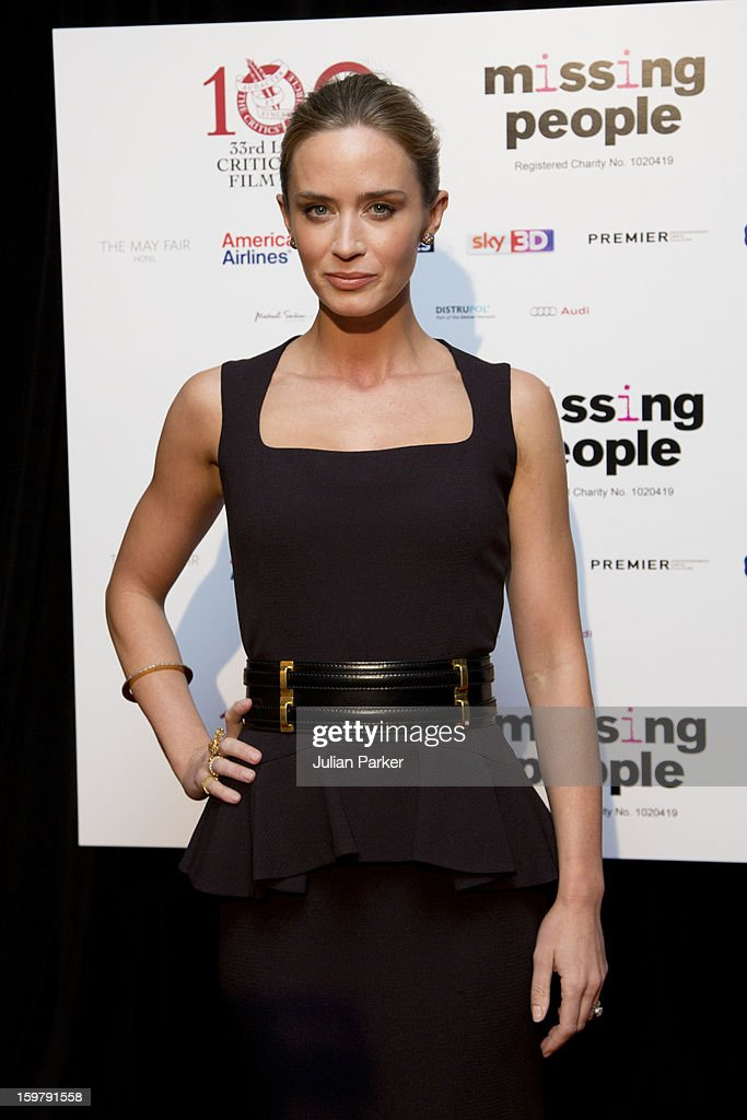 Emily Blunt, attends the London Critics' Circle Film Awards, at The Mayfair Hotel on January 20, 2013 in London, England.