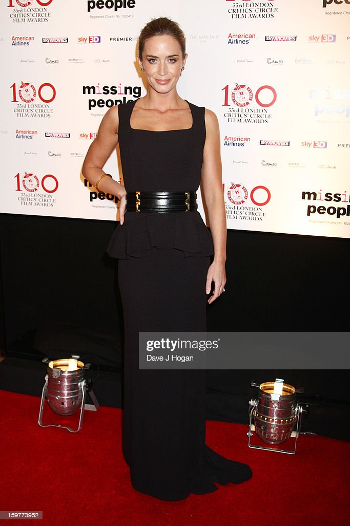 Emily Blunt attends The London Film Critics Circle Film Awards 2013 at The Mayfair Hotel on January 20, 2013 in London, England.